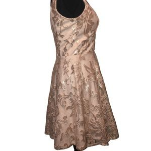 MARINA Dresses - Rose gold Embroidered Mesh Fit & Flare Dress